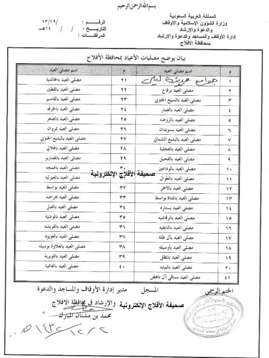 حفظ اوقاف أوقاف الأفلاج تعتمد صلاة العيد في جوامع ليلى - صحيفة ...