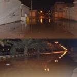 أمطار متوسطة تغرق عدد من شوارع وطرق المحافظة