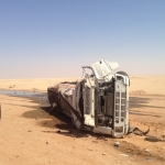 إنقلاب شاحنة بترول شمال الأفلاج