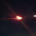 أشتعال النيران في سيارة شمال الأفلاج