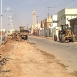 """بلدية الأفلاج تبدأ في إعادة تهيئة شارع الملك سعود تجاوبآ مع """"صحيفة الأفلاج الإلكترونية """""""