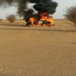حادث مروري يتسبب في احتراق مركبة مقيم عربي باﻷفلاج