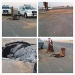 بالصور .. انهيار مفاجئ في الطريق السريع الأفلاج  الرياض