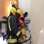 إنقاذ مصاب في حريق بمركز الهلال الأحمر بالأفلاج