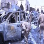 فيديو يظهر الأضرار الجسيمة التي أحدثها التفجير الإرهابي بجوار مسجد العنود