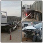 حادث يصيب المقدم مبارك العاتي وعائلته. صور الحادث