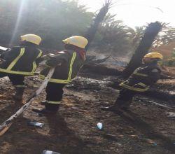 مدني الهدار يخمد حريقاً اندلع في مزرعة مواطن