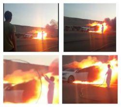 إشتعال النيران في مركبة على طريق البديع - الهدار