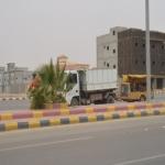 بعد موجة الغبار بلدية الأفلاج تقوم بإستبعادة عن الأشجار