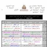 جدول إختبارات الفصل الأول  لكليات الأفلاج