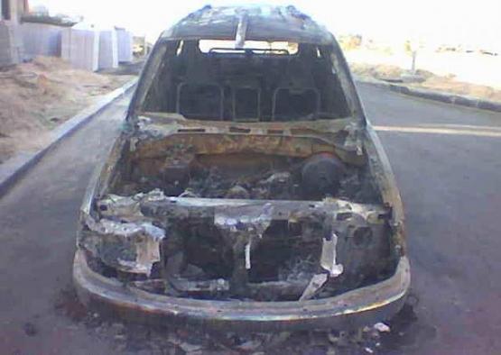 العثور على سيارة محروقة في خشم العجيمات  بالافلاج