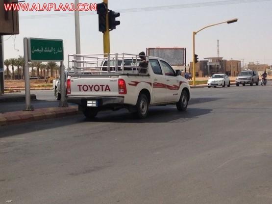 قائد مركبة بأحد شوارع المحافظة وفي موقف غير إنساني يضعه في حوض المركبة