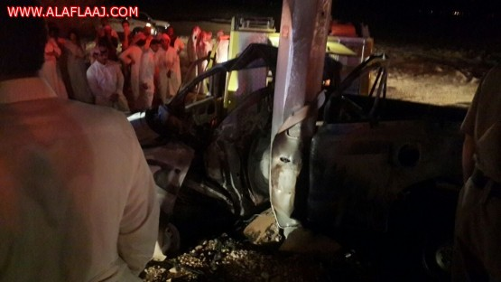 تفحم مواطن وإصابة مرافقه في حادث مروري شمال المحافظة