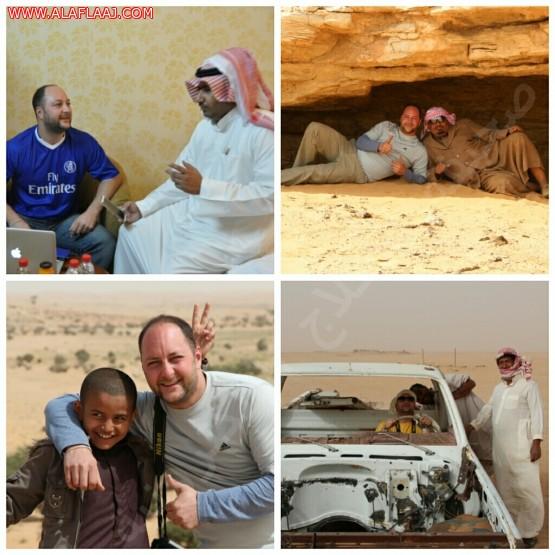 """""""ديفيد"""" يختار اﻷفلاج نقطة بدايته لنقل الصورة الحقيقية للشعب السعودي إلى العالم"""