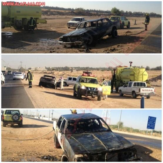 احتراق سيارة باﻷفلاج .. والدفاع المدني يباشر الحادث