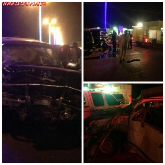 حادث مروري يصرع وافد آسيوي وينقل آخرين لمستشفى اﻷفلاج