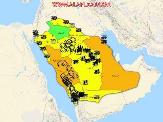 """تنبيهات """"الأرصاد"""" تحزم معظم مناطق المملكة .. سحب وأمطار رعدية وأتربة مثارة"""