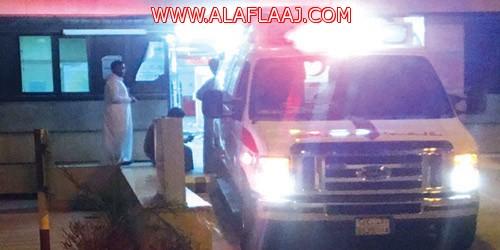مستشفى الأفلاج يستقبل ١٦ حالة إصابة جرى حادث مروري