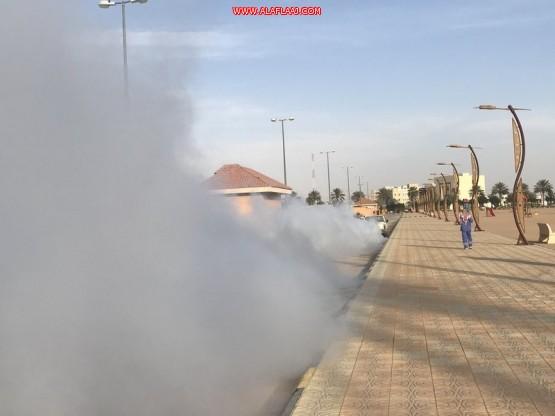 شاهد.. تطهير وتعقيم الحدائق العامة في بلدية الأفلاج