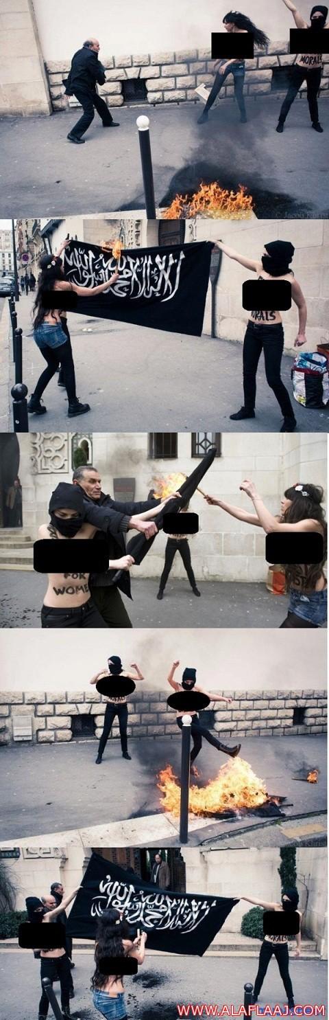 """نساء عاريات يحرقن """"العلم السلفي"""" ويرقصن فوقه أمام مسجد باريس الكبير"""